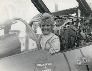 Petula Clark in a Phantom 1968, she was filming Good Bye Mr Chips at Sherbourne and used Yeovilton to fly in from her home in France.