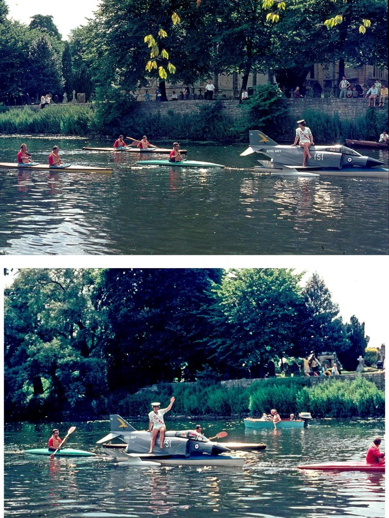 Yeovilton canoe club escorted and towed the Phantom Phemale! Thanks to Lionel A Smith for these long-lost shots.