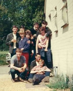A group of matelots and wrens outside the Pinky, summer 1967. Me at the front on the ground.